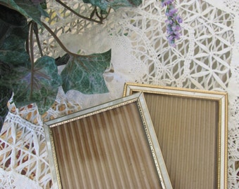 Two 5 X 7 Table or Hang Faux Mother of Pearl Inlay Picture Frame
