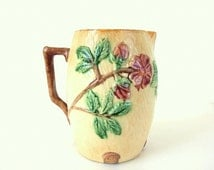 Antique Majolica Pitcher - Wild Roses on Tree Bark Texture