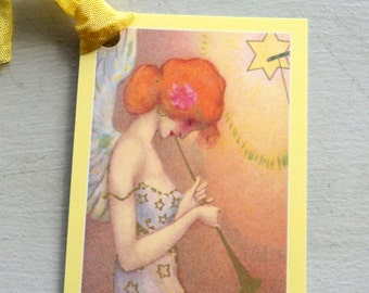 8 Music from the Angels Gift Tags, Yellow Coral Pink Cream, hang tags, Merchandise tags, Handmade, Party Favor Tags