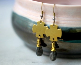 50% Off Gray Labradorite Drop Earrings, Raw Gold Brass Medieval Crosses, Wire Wrapped Dangles