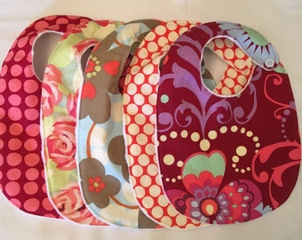 Baby Girl Gift Set - 5 modern Amy Butler Love bibs with snap closures and white minky backing READY TO SHIP