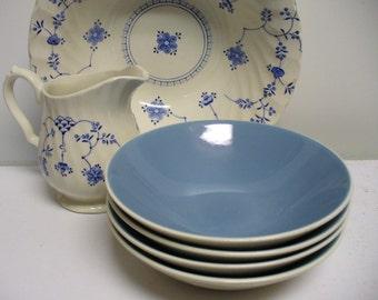 4 Blue Berry Bowls