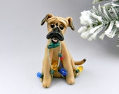 Black Mouth Cur Dog Christmas Ornament Figurine Handmade Porcelain