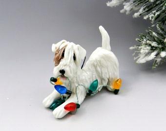 Sealyham Terrier Christmas Ornament Figurine Lights Porcelain