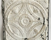 "AUTHENTIC 1890's Tin Ceiling Tile Panel White 12""x 12"" Arts and Crafts  RECLAIMED 47-16"