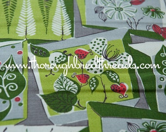 Mid Century Barkcloth - Eames Geometric 50s 60s New Old Stock Floral Leaves