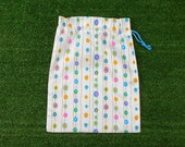 Small drawstring bag for gifts, game pieces, trinkets, turquoise/pink/yellow spots