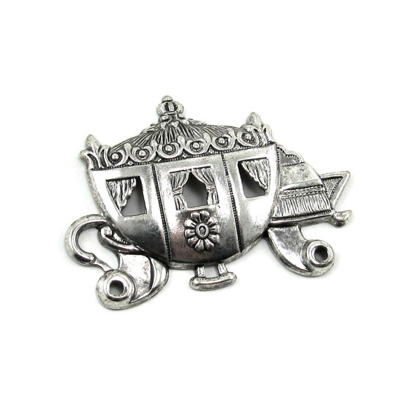 Princess Coach / Cinderella Fairytale Carriage Stamping or Brooch Finding in Antiqued Sterling Silver Plate