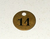 Vintage Metal Brass Round Key Tag with Black Number 14