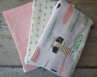 Monogrammed Burp Cloth, Set of 3, Personalized Burp Cloths, Girl Burp Cloth, Pink, Aqua, Gold, Feathers, Arrows