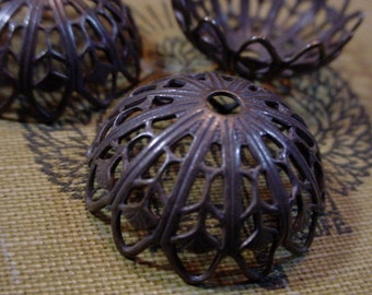 Lot Large Brass Filigree Bead Caps 20mm 22mm Open Work Hand Oxidized Dark Antique Bronze Brown Black Natural Patina Jewelry Findings 14f