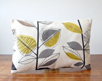 decorative pillow cover grey, light mustard, beige leaves, lumbar cushion cover 12 x 18 inch