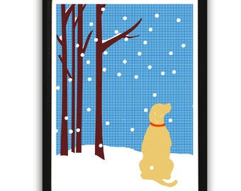 Yellow labrador retriever dog gazing the snow - ideal gift for Labrador lovers, yellow lab, dog art, labrador art