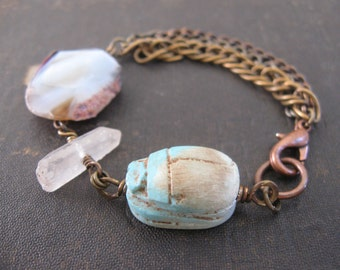 Assemblage Bracelet With Agate Quartz and Stone Scarab