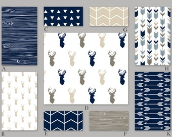 Navy, Beige, Tan and Blue Woodland Crib Baby Bedding Set - The Rustic Woods Collection
