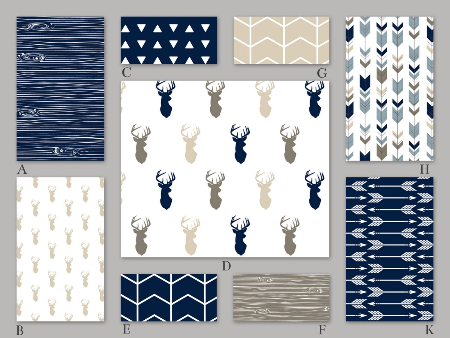 Navy Beige Tan And Blue Woodland Crib Baby Bedding Set The
