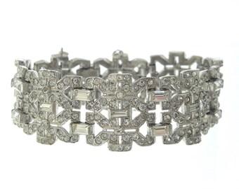 Antique Art Deco Wide Bracelet, Vintage Statement Baguette Link, 1920s Fine Deco Wedding Jewelry, Bridal Bracelets, Wide Rhinestone Cuff
