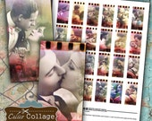 Hollywood Romance - 1x2 Domino Tile - Valentine Collage Sheet - Vintage Film Strip Images - Hollywood Movie Lovers - DIY Jewelry Images