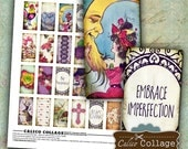 Whimsical Digital Collage Sheet, Domino Images, 1x2 Collage Sheet, Whimsy Domino Images, for Pendants, Bezel Settings, Wood Tiles, Decoupage