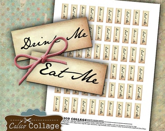 Tiny Eat Me and Drink Me Tags Digital Collage Sheet Printables Decoupage Paper Alice In Wonderland Tags 1.25x.50 Inch Size Calico Collage