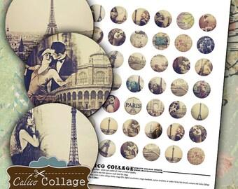 Paris Dreams Digital Collage Sheet Printable Images for Bottle Cap Jewelry, Bezel Settings, Resin Pendants - Bottle Cap Images
