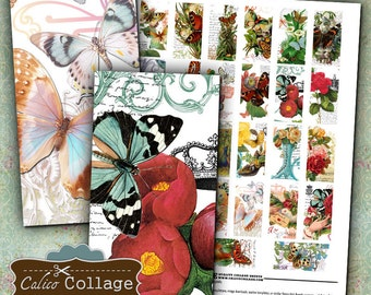 Butterfly, Domino Collage Sheet, 1x2 Inch Images, Printable Sheet, Butterfly Images, Victorian Images, Digital Collage, Instant Download