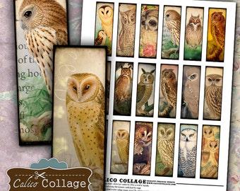 Majestic Owls, 1x3 Collage Sheet, Digital Collage, Images for Soldering, Microslide Images, Soldered Pendants, Instant Download
