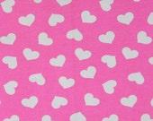 Knit pink valentine hearts 1/2 yard cotton lycra knit