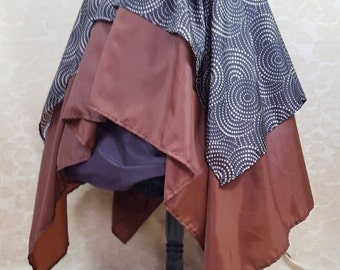 "Royale Double Layered Swirl Brown Pointed Fairy Pirate Skirt-To Fit 27-42"" Waist"