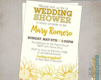 Custom Vintage Sunflower Wedding Shower Invitation, Sunflower Bridal Shower Invite, Printable #S122