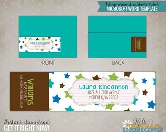 Twinkle Twinkle Little Star Baby Shower - Wrap Around Address label Template - Instant Download #S118