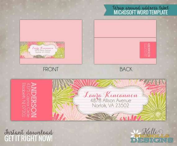Gerber Daisy Wrap Around Return Address Labels - Instant Download #S116