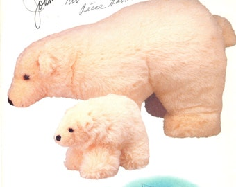Vogue 7082 634 1980s Polar Bear Pattern Large and Small 14 and 7 Inches Linda Carr Vintage Stuffed Animals Sewing Pattern UNCUT