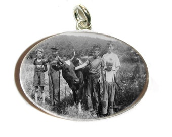Custom Photo Charm/ Large  18x25mm Sterling Silver Oval