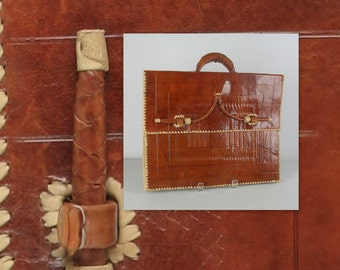 Vintage 70s Briefcase Handtooled Leather by Star Jerryson whipstitched