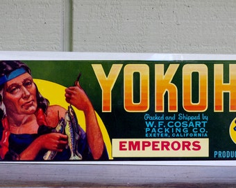 Vintage Yokohl Brand Produce Emperors  Crate Label