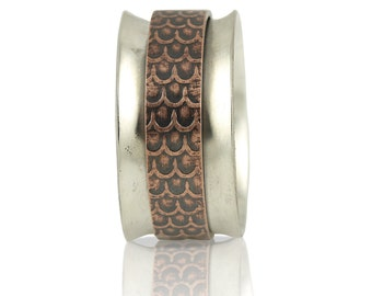 Sterling Silver Band Spinner Ring with Copper Scale Center - Ode to Blackfish Tully
