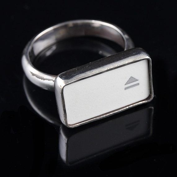 """SALE - Computer Key Jewelry - rePURPOSED Apple MacBook """"Eject """" Sterling Silver Key Ring"""