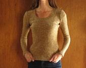 1970s METALLIC ITALIAN wool pointelle knit sweater, xs