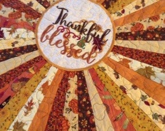 RESERVE LISTING  ..............Quilted Round THANKSGIVING Table Topper