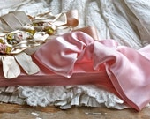 Vintage Lovely Hank Of French Thick Rich Double Face Pink Satin Ribbon