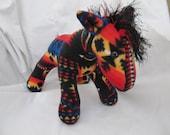 Navajo blanket horse, black sunset, pendleton inspired, stuffed animal, plush, plushie, black and red, pendleton blanket, native indian