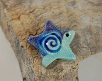 Glass Infused Star Pendant-Pottery Pendant-Purple With Turquoise Glaze J10
