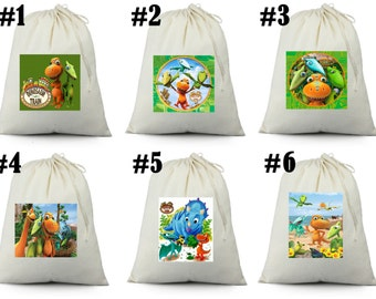12 Dinosaur train   Birthday Party Favor Candy Loot Treat Drawstring Bags