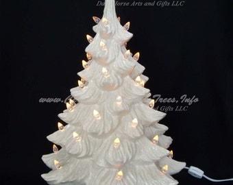 White Christmas Ceramic Christmas Tree w/ Music Box 19 in
