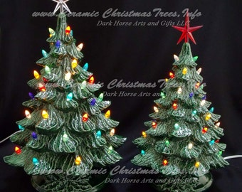 Vintage Style Ceramic Christmas Tree 16 And 19 Inch Collection Lights Not Glued In