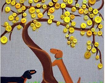 Dachshund  Spring Art  Tabebuia Tree  Buttons on Burlap