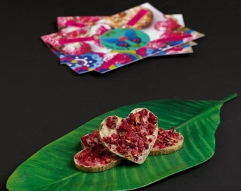 VALENTINE SALE 8 Raw valentine chocolates with coconut, raspberries and rose petals NO Nuts