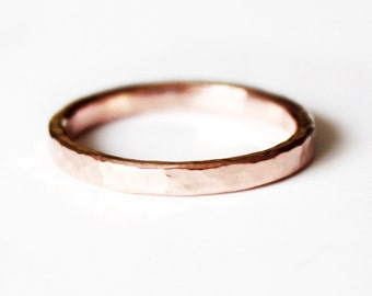14K Rose Goldfill Ring - Thin Hammered Pink Gold Band - Stacker Ring - Unisex - Wedding Band - Promise Ring