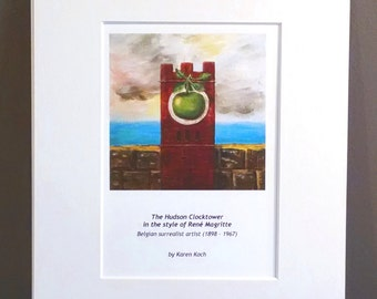 Magritte-Inspired Hudson Ohio Clocktower, 10x8 inches, Art Print, Matted, Parody Art, by Hudson Ohio Artist Karen Koch